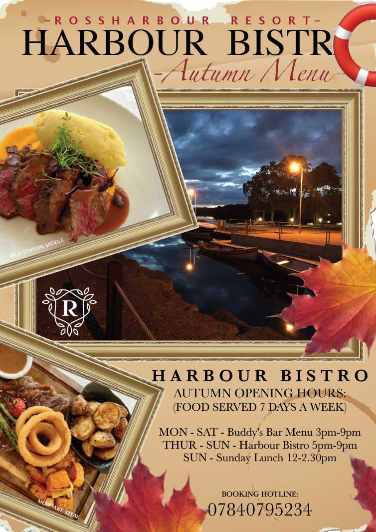 Rossharbour Resort | Harbour Bistro Menu Autumn 2020